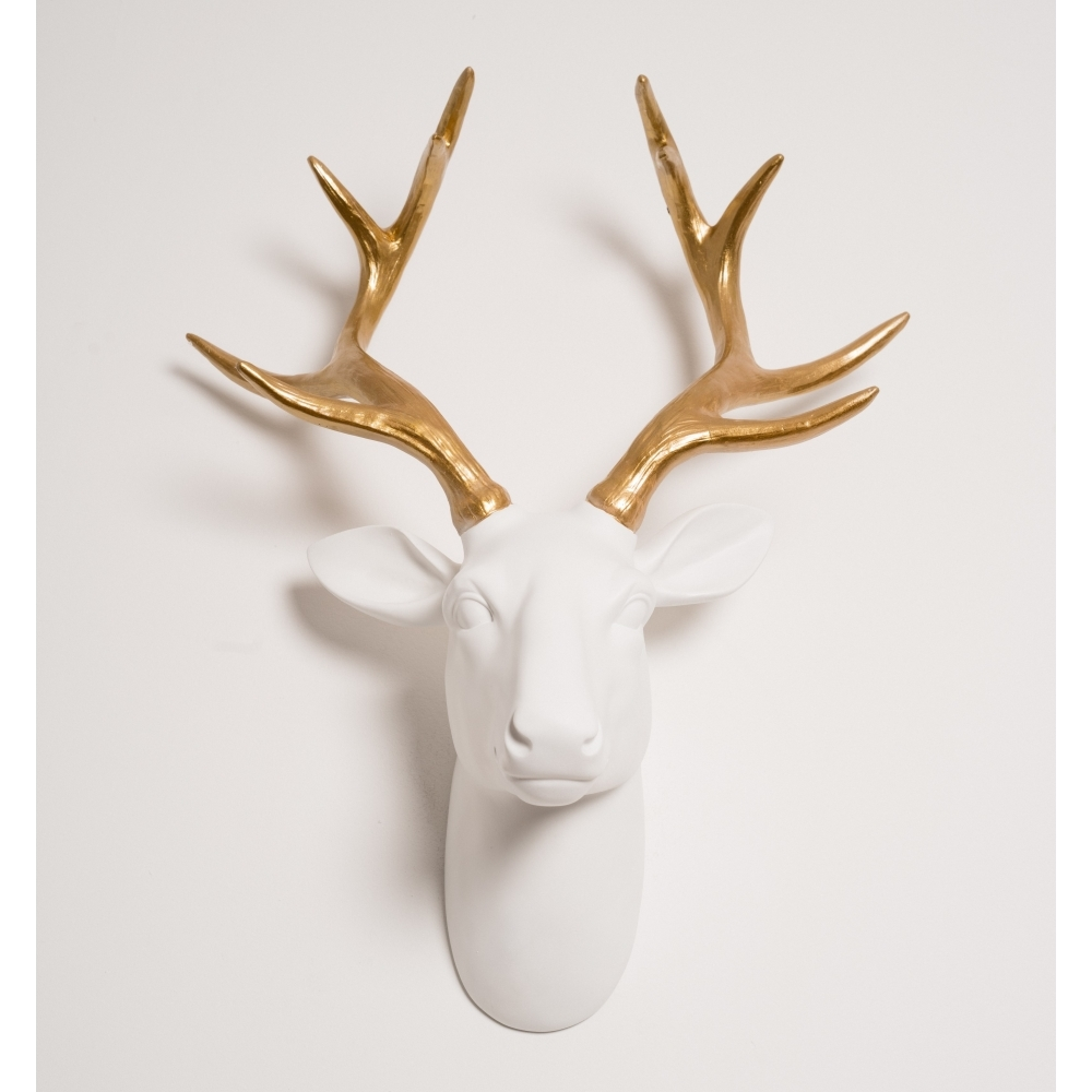 Hurn Discoveries Stag Head Wall Mounted Decor White Gold