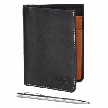 Leather Travel Wallet with Pen - Black
