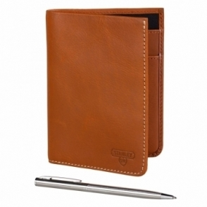 Leather Travel Wallet with Pen - Tan