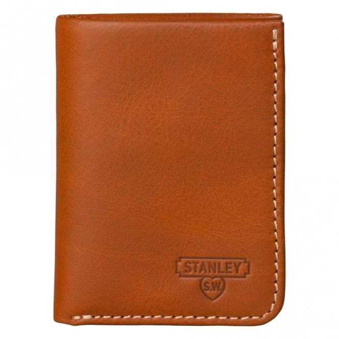 Stanley Tools Leather Tri Fold Tan Wallet - Gift Tin
