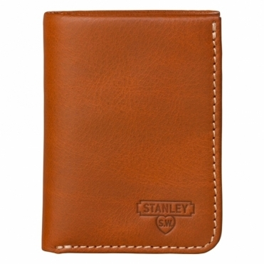 Leather Tri Fold Tan Wallet - Gift Tin