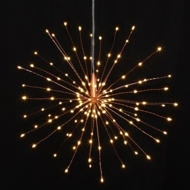 Starburst LED Light Ornament Copper Small - Hanging