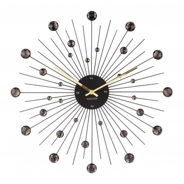 Sunburst Crystal Large Wall Clock 50cm - Black