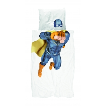 Superhero Single Duvet Cover & Pillowcase Set - Blue