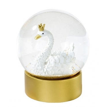 Swan with Crown Glitter Snow Globe - Gold