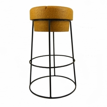 Tall Champagne Cork Bar / Breakfast Bar Stool Black Frame