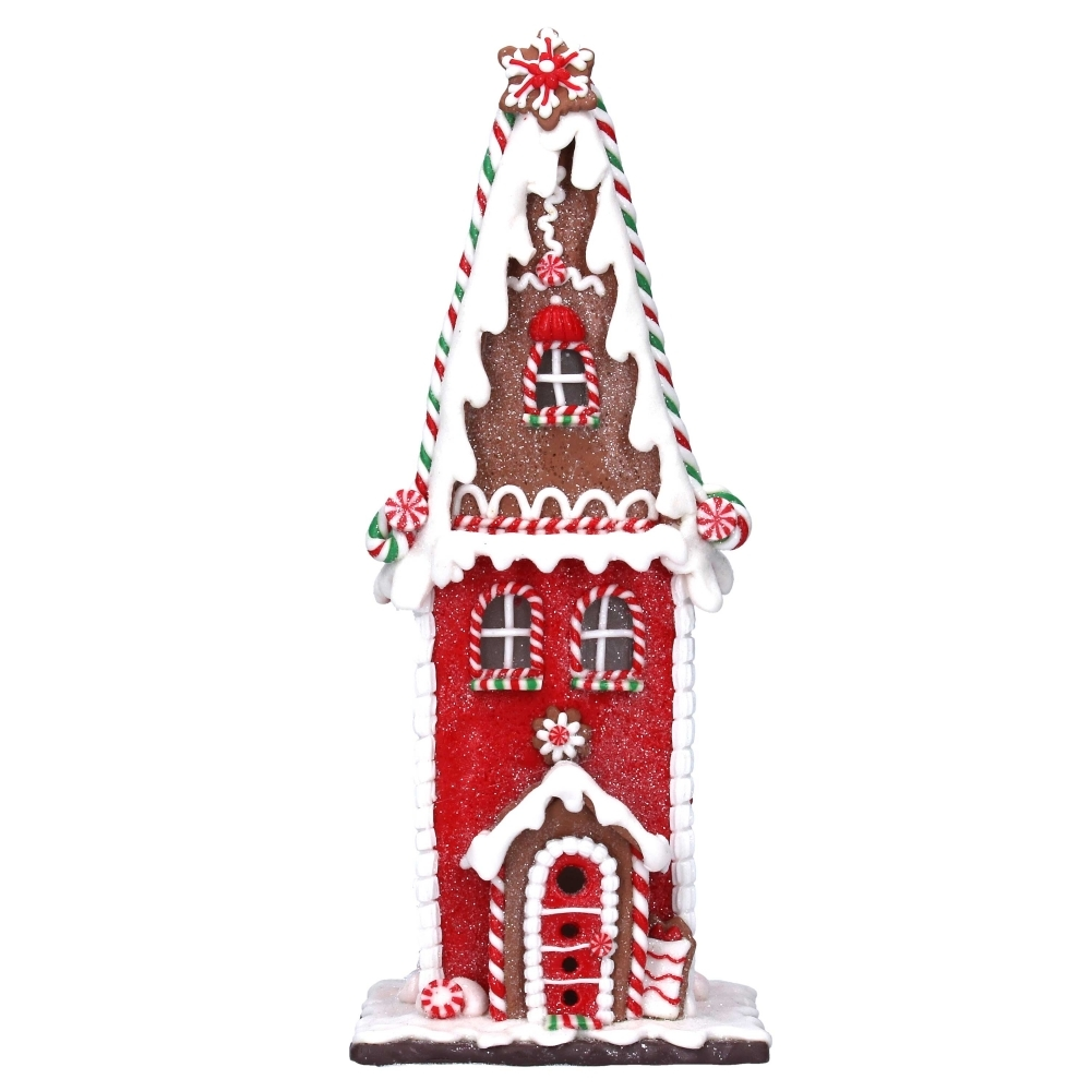 Tall Led Light Up Gingerbread House Christmas Ornament Decoration