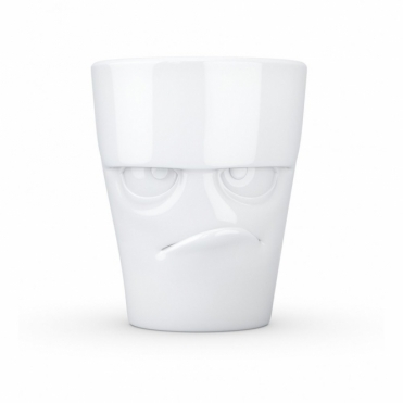Grumpy Face Porcelain Mug with Handle