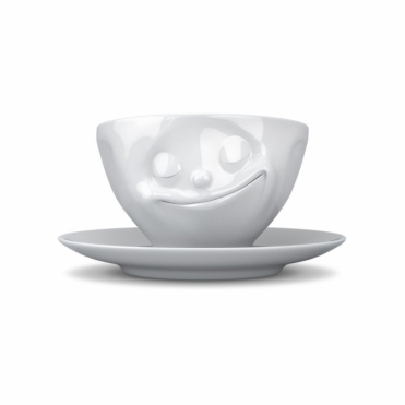 Happy Face Porcelain Cup & Saucer