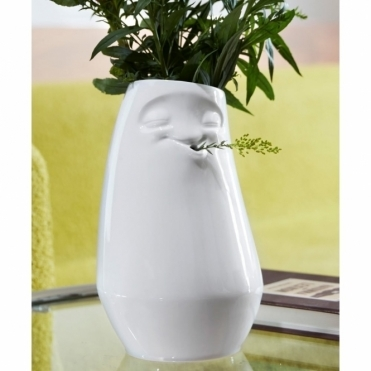 Smiling Face Laid Back Porcelain Vase
