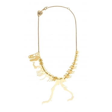 Dinosaur T-Rex Skeleton Necklace - Gold
