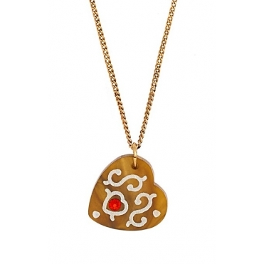 Gingerbread Heart Pendant Necklace