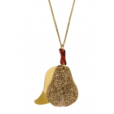 Golden Pear Pendant Necklace