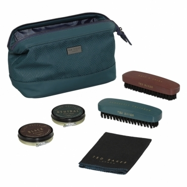 Teal Geometric Shoe Shine Kit
