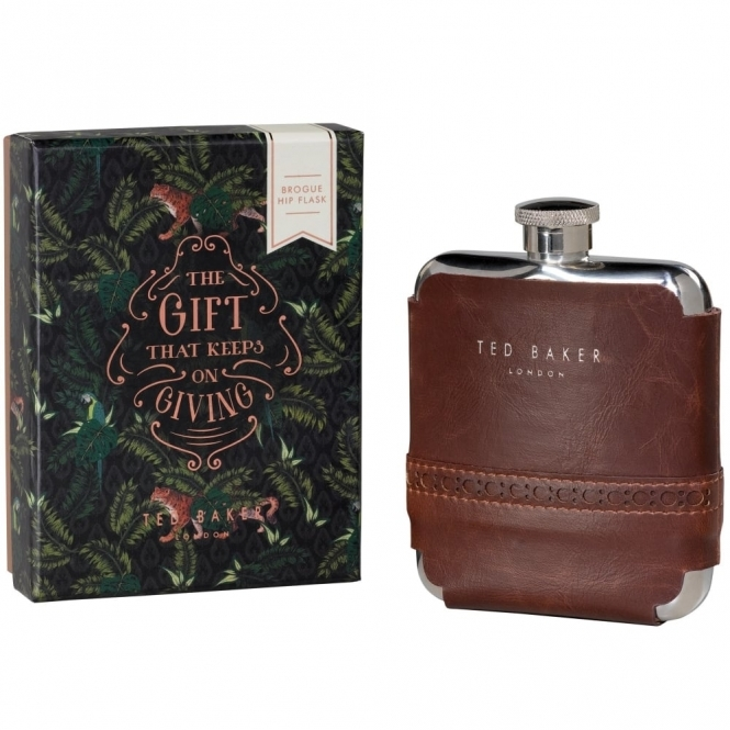 Walnut Brown Brogue Hip Flask