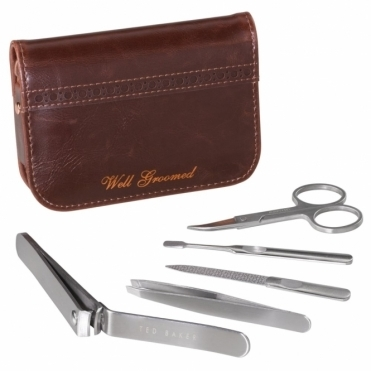 Walnut Brown Brogue Manicure Set