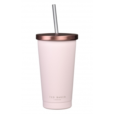 Insulated Stainless Steel Tumbler with Straw - Pink Quartz