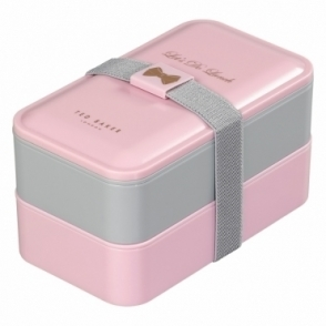 Ted Baker Womens Lunch Box Stack with Cutlery - Pink & Grey