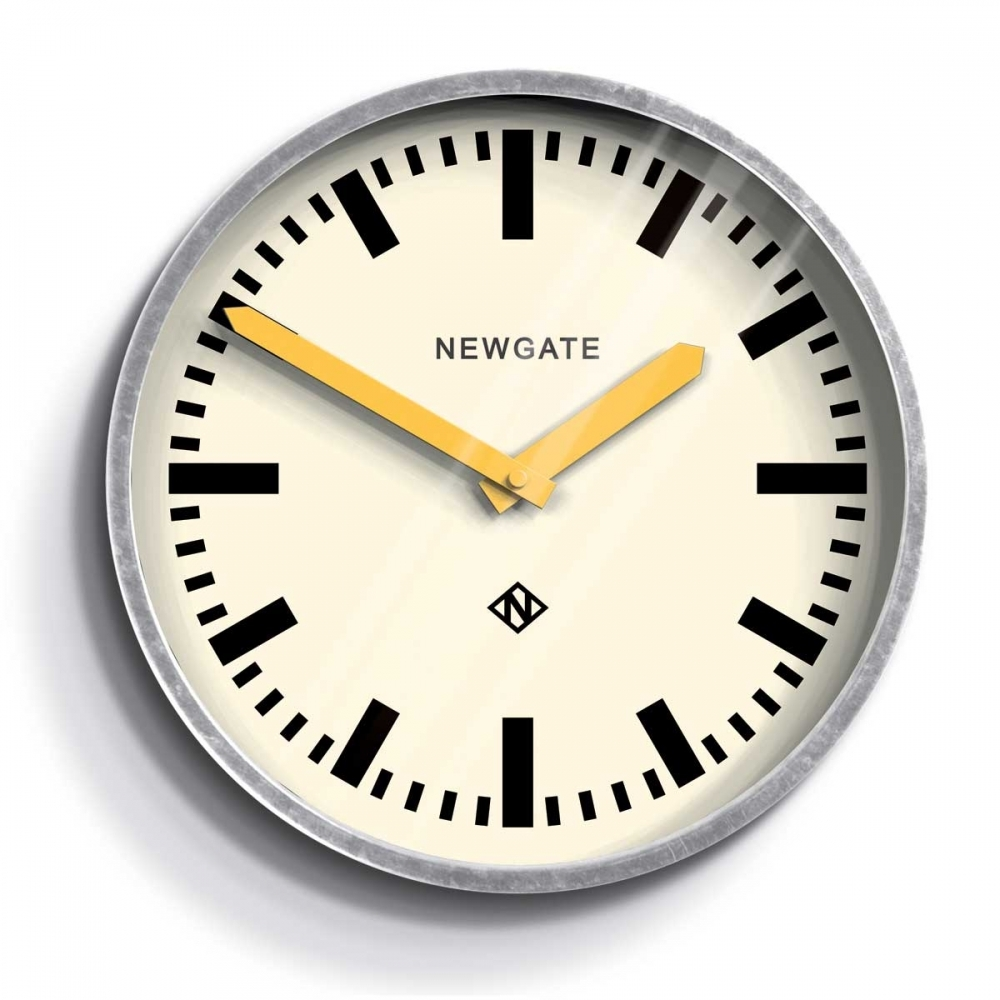 The Luggage Galvanised Steel Wall Clock Yellow Hands