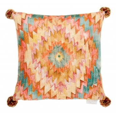 Thorley Cinnamon Square Cushion with Pom Poms