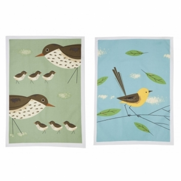 Thrush & Wagtail Tea Towels - Set of 2