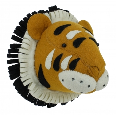 Tiger Felt Animal Head Large - Wall Mounted