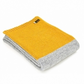 Knitted Alpaca Mix Throw Blanket - Grey & Mustard