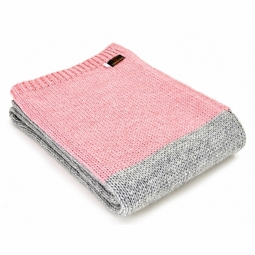 Knitted Alpaca Mix Throw Blanket - Grey & Pink