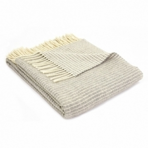 Merino Lambswool Reversible Lattice Throw Blanket Grey