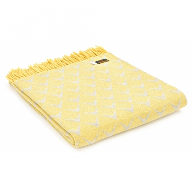 Merino Wool Reversible Throw Blanket - Coastal Abersoch Yellow