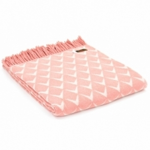 Merino Wool Reversible Throw Blanket - Coastal Nefyn Pink
