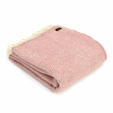 Pure New Wool Beehive Dusky Pink Knee Lap Blanket