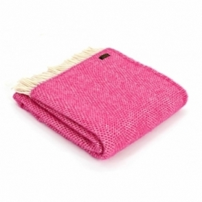 Pure New Wool Beehive Throw Blanket Cerise Pink