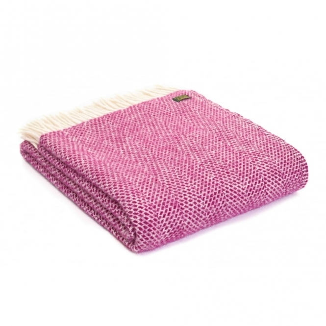 Tweedmill Pure New Wool Beehive Throw Blanket - Cherry