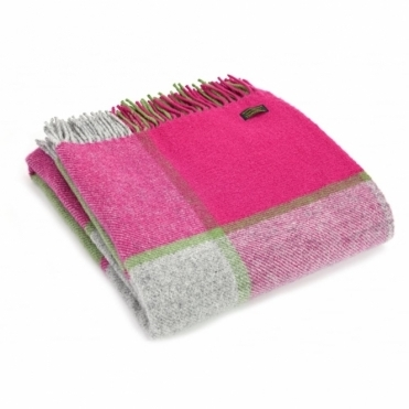 Pure New Wool Block Check Throw Blanket Pink, Grey & Green