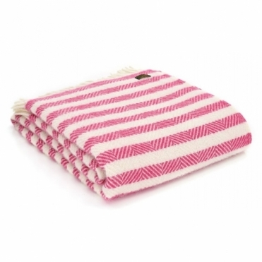 Pure New Wool Candy Cane Stripe Throw Blanket