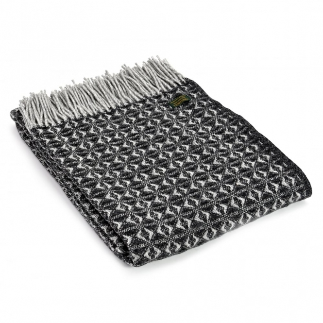 Tweedmill Pure New Wool Cob Weave Throw Blanket Charcoal