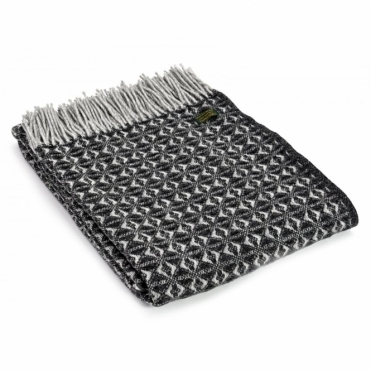 Pure New Wool Cob Weave Throw Blanket Charcoal