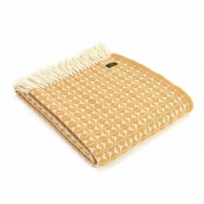 Pure New Wool Cob Weave Throw Blanket English Mustard
