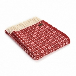 Pure New Wool Cob Weave Throw Blanket Red