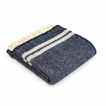 Pure New Wool Fishbone 2 Stripe Throw Blanket Navy & Silver Grey