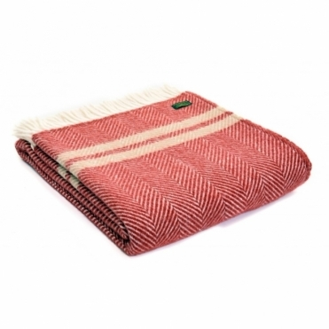Pure New Wool Fishbone 2 Stripe Throw Blanket Red & Beige