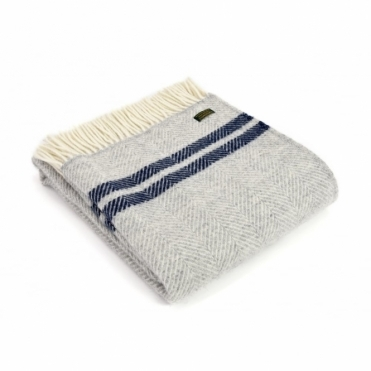 Pure New Wool Fishbone 2 Stripe Throw Blanket Silver Grey & Navy
