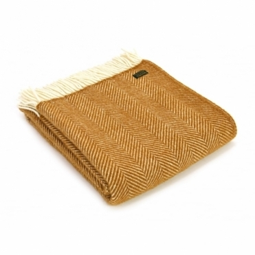 Pure New Wool Fishbone Throw Blanket English Mustard