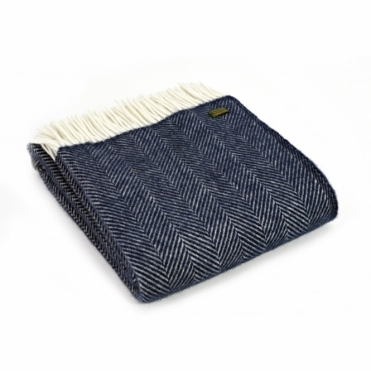 Pure New Wool Fishbone Throw Blanket Navy