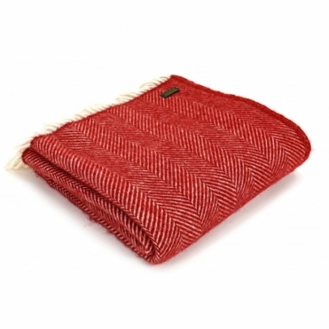 Pure New Wool Fishbone Throw Blanket Red