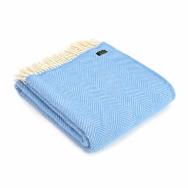 Pure New Wool Fishbone Throw Blanket Sea Blue