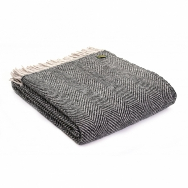 Pure New Wool Herringbone Throw Blanket Charcoal & Silver
