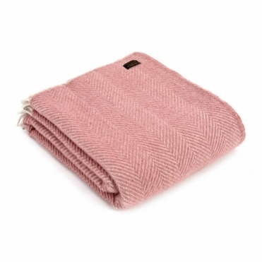 Pure New Wool Herringbone Throw Blanket Dusky Pink & Pearl