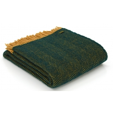 Pure New Wool Herringbone Throw Blanket - Emerald & Mustard